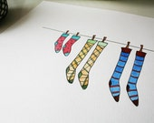 Laundry Day - Watercolor Art Print - Illustration - Socks Cleaning New Year Pairs