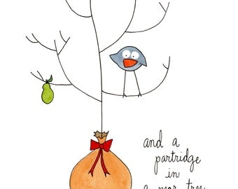 Christmas Art Print: A Partridge in a Pear Tree