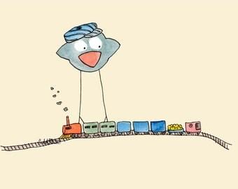 Train Conductor Carlos - Children's Art Print Baby Toddler Boy