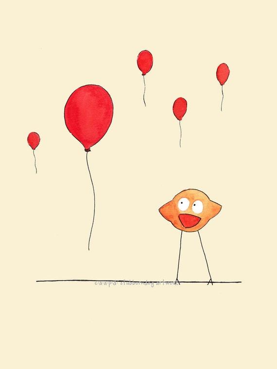 Benny and the Balloons - Art Print - Children, Nursery, Watercolor, Bird