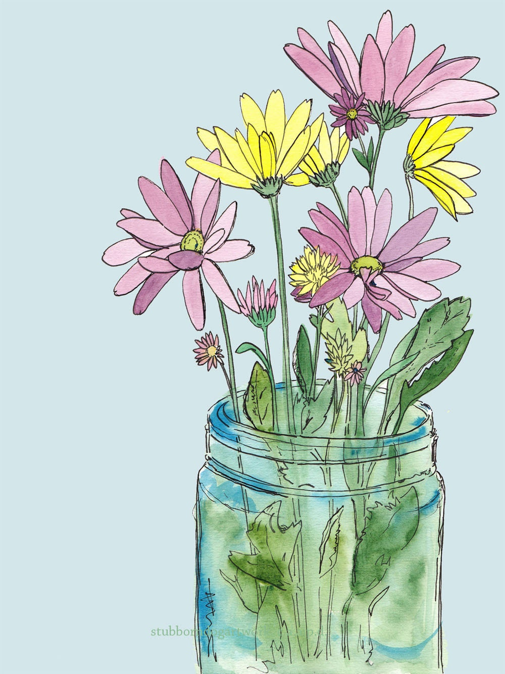 Spring market bouquet watercolor flower daisy art by for Spring flowers watercolor