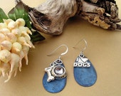 DENIUM BLUE AND STERLING SILVER PIERCED EARRINGS - FOR DOG OR PET LOVERS
