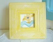 Bright Yellow Floral  Upcycled Picture Frame