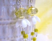 Earrings . Golden Chaintree . Milk Glass, Crystal, Glass, Silver, Gold