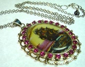 Pirate Sailing Ship Pink Rhinestone and Porcelain Cameo Pendant LONG Necklace
