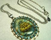 Pirate Sailing Ship Sky Blue Rhinestone & Porcelain Cameo Pendant LONG Necklace