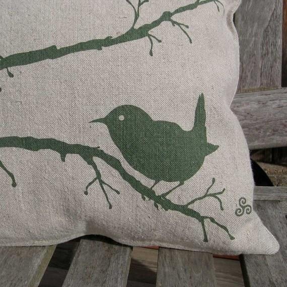 Wren on a Branch Pillow in Evergreen