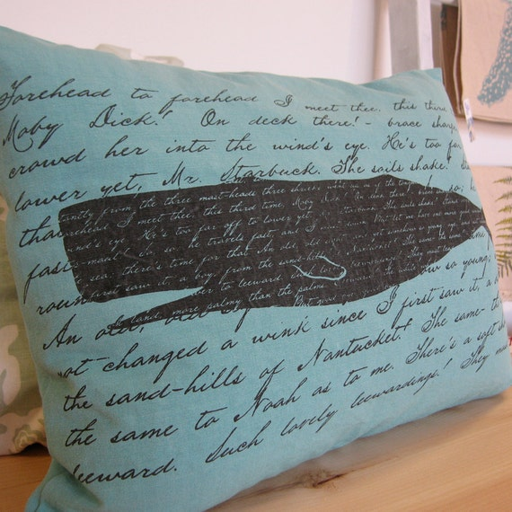 Moby Dick - Hand screenprinted Pillow