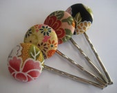 Fabric Button Bobby Pins III