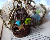 Rustic Bird Cage Long Necklace -Set Me Free Cage Pendant Sweater Necklace