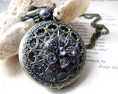 Midnight in Paris Steampunk Rhinstone Pocket Watch Necklace
