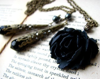 Boho Flower Necklace - Black Rose Convertible Lariat