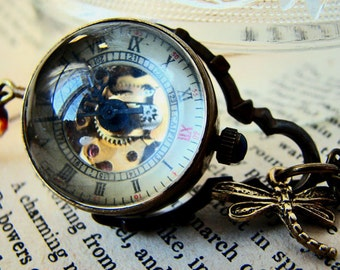 Temps Perdu Orb Watch Tassel Necklace - Steampunk Mechanical Watch Travel Long Necklace