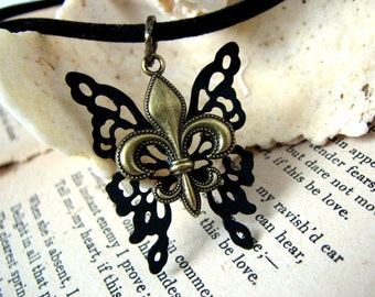 Fleur De Lis Choker - Steampunk Black Choker Butterfly Necklace - Fashion Necklace