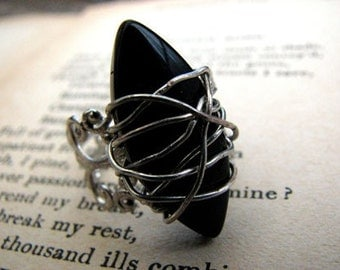 The Embrace Filigree Statement Cocktail  Ring, Wired Wrapped Black Ring