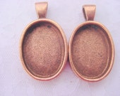 2 Pendant Trays Oval Deep Well Copper Plated Pewter   DG312 Made In The USA
