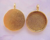 4 Pendant Blank Trays Small Gold Plated Pewter  (16.5mm) (No. ND125) Great for Photos, Artwork, Glass and More