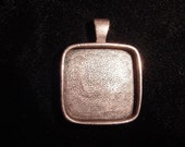 2 Square Copper Plate on Pewter Pendant Blanks Deep Well  (25mm)