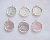 40 Pieces Sterling Silver Plated Round Circle Mini Link Single Loop Pendant or Earring Blank (No. ND 140)RESERVED