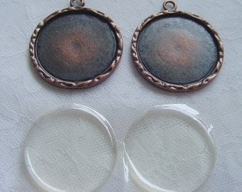 4 Round  Frame Charm Blanks With Adhesive Covers  (No. 049)
