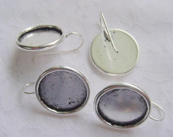 2 Pairs Earring Blanks Large Circle Drop Antique Silver Plated (No. ND175)