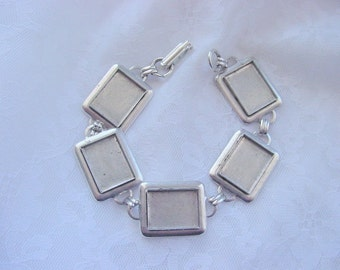 Bracelet Blank Antiqued Silver Plate Rectangle 7.5 Inch (16 x 12mm) (No. ND 116)