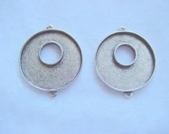 2 Toggle Double Loop Pendant Blanks Round Silver Plated Pewter  (No. ND187)