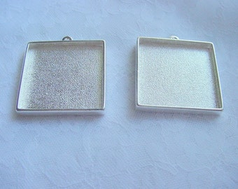 2  Pendant Tray Blanks Extra Large Sterling Silver Plated Pewter Square (No. ND154)
