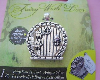 2 Fairy Door Wish Keeper Locket / Pendant Antique Silver 2006