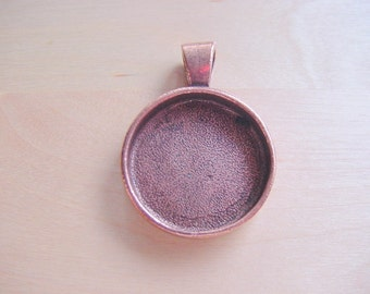 2 Round Pendant Blanks Antiqued Copper Plated Pewter Deep Well