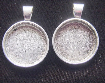 2 Round  Deep Well Pendant Trays Antiqued Silver Plate Made In The USA
