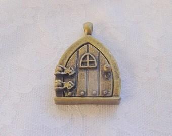2 Fairy Door Wish Keeper Locket / Pendants Antique Bronze 2001