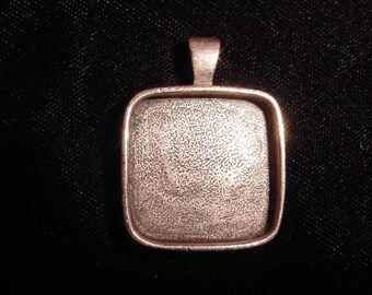 Square Copper Plate on Pewter Pendant Blanks Deep Well  (25mm)