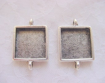 6  Square Pendant, Earring or Bracelet Blank Trays Double Loop  Antique Silver Plated  (No. ND 143)