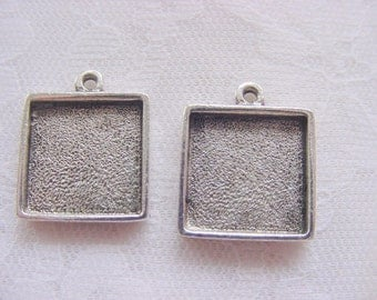 6 Pendant,  Earring. Bracelet  Blanks Antique Silver Plated Square Single Loop  Mini Links (No. ND139) Made In The USA