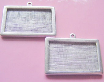 2 Framed Pendant Blanks Horizontal Rectangle Single Loop Silver Plated Pewter  ND193 Made In The USA