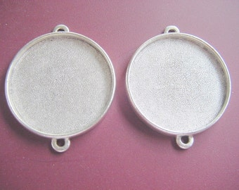 2 Circle Pendant Blanks Silver Plated Pewter Double Loop Extra Large (No. ND168)