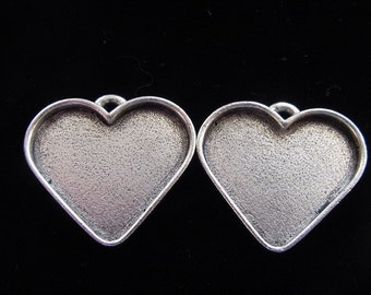2  Heart Pendant Blanks Large Silver Plated Pewter  (No. ND110)