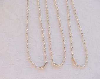 3 Silver  Ball Chain Necklaces With Connectors 1.5mm by 18 Inches