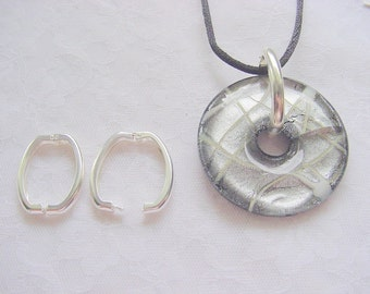 2 Large Clip Loops for Pendants in Brite Silver 3/4 x 1 Inch