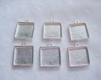 6 Square Pendant or Earring Blanks Sterling Silver Plated Mini Link Single Loop  (No. ND138) 1/2 Inch ID (13mm) Made In The USA