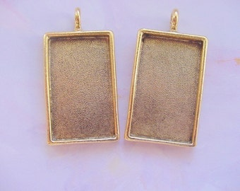 2 Pendant Blanks Large Rectangle Gold Plated Pewter 1-1/4 x 3/4 Inch (19x31mm) (No. ND 123)