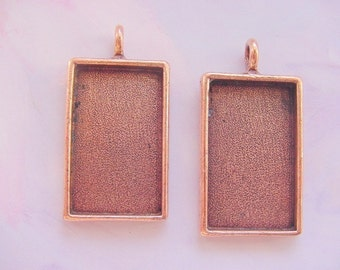 2 Pieces Large Rectangle Copper Plated Pewter Pendant Tray No. ND122