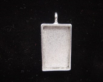 4 Pendant Blank Trays Large Rectangle Silver Plated Pewter(No. ND105) 1-1/4x3/4 Inch (19x31mm)