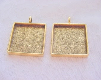 2 Large Square Antique Gold Plated Pewter Pendant Blanks (No. ND121) 15/16 Inches (24mm)