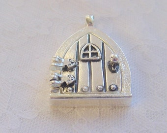 2 Fairy Door Wish Keeper Locket / Pendant Antique Silver 2000