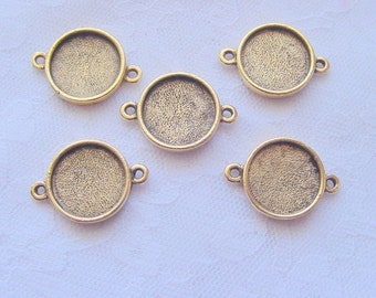 6 Pendant or Earring Blanks Antique Gold Plated Round  (No. ND164) 1/2 Inch (13mm)
