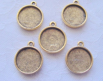 6 Pendant / Earring Blanks Antique Gold  Plated Round Mini Link Single Loop  (No. ND163) 1/2 Inch (13mm)