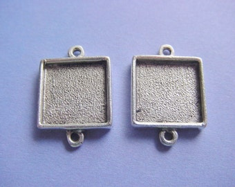 5 Pieces Antique Silver Plated Square Mini Link Double Loop Jewelry Tray (No. ND152)