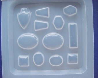 Resin Jewelry Mold Assorted Jewel and Gem Shapes Including Cameo (408)